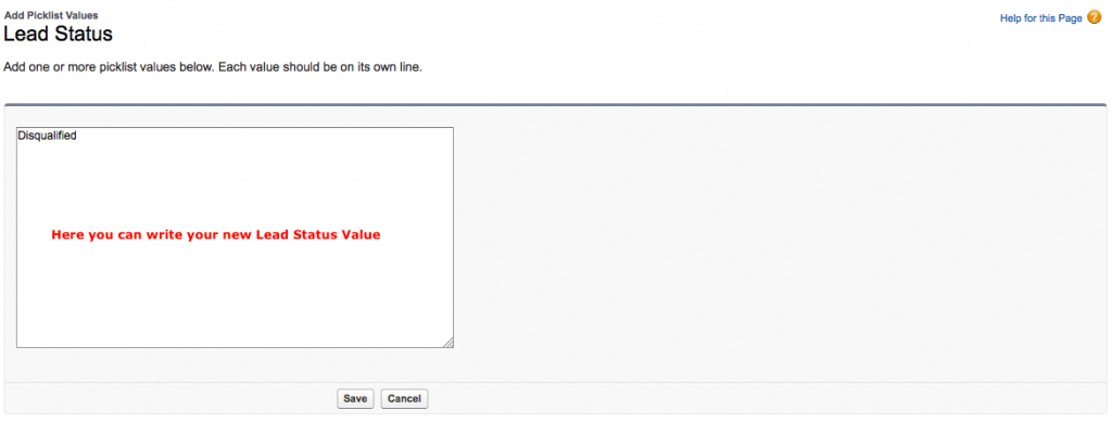 Add Lead Status Value