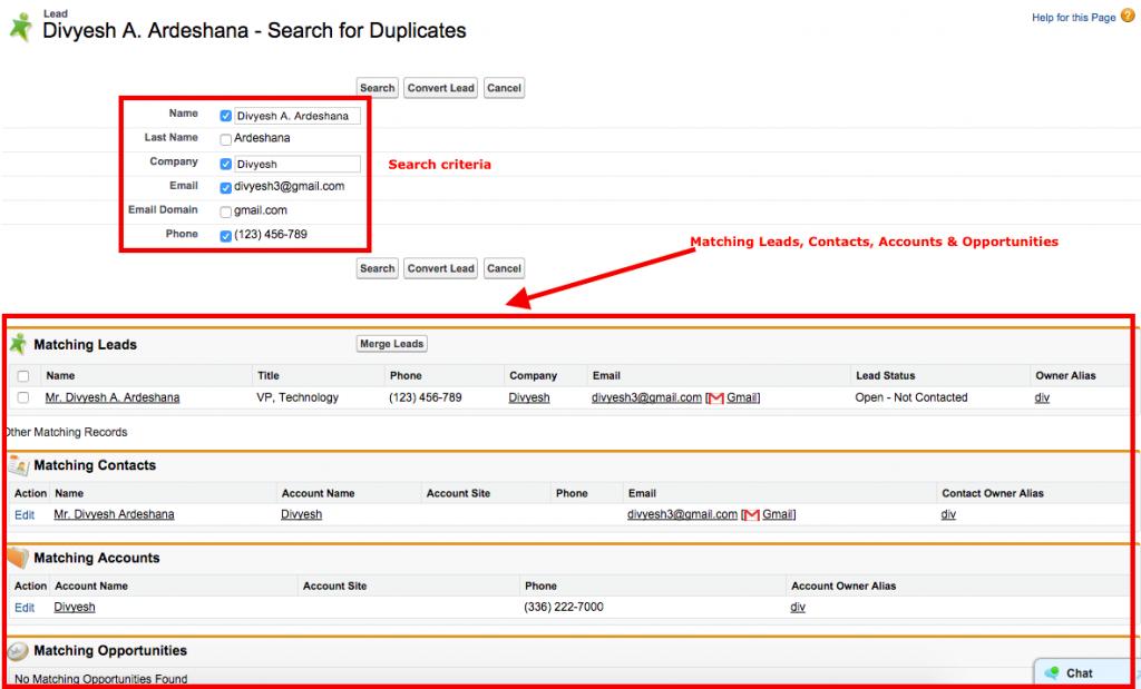 Find Duplicate Lead