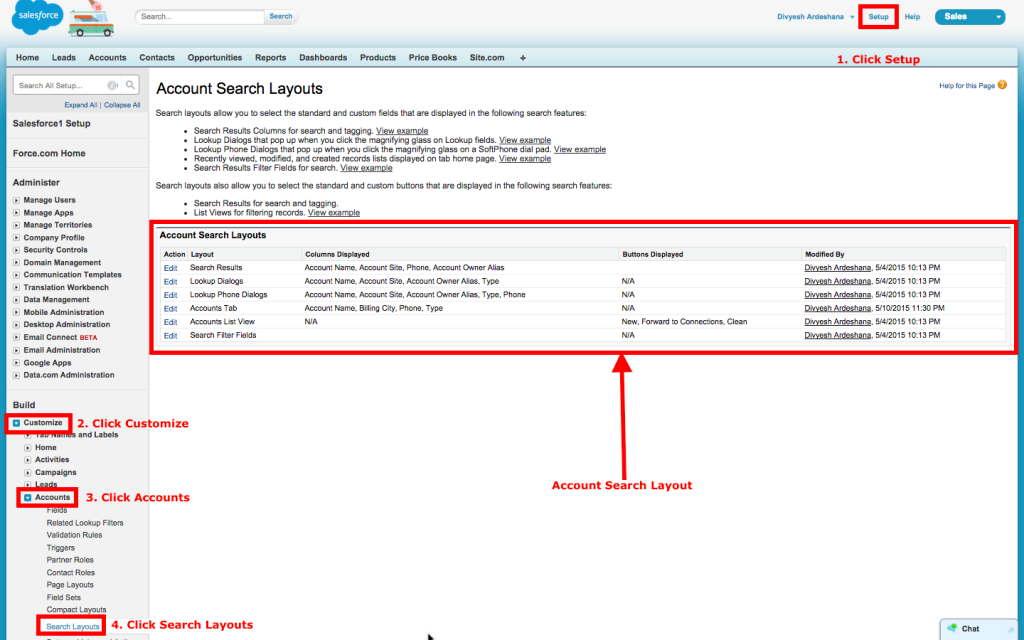 Account Search Layouts