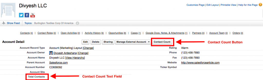 Account Page Count Contact